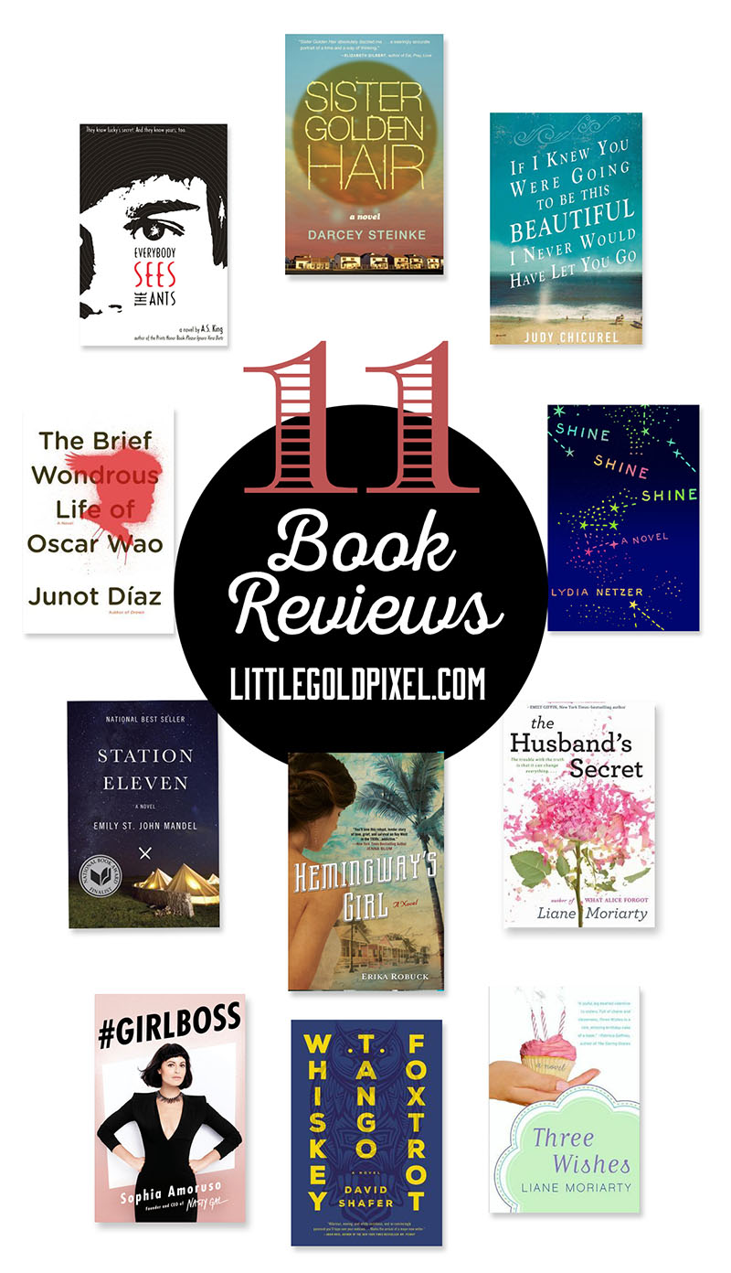 Book Reviews 2015 Part 1 • Little Gold Pixel • Lydia Netzer, Liane Moriarty, Station Eleven, Whiskey Tango Foxtrot, Shine Shine Shine, A.S. King, Hemingway's Girl