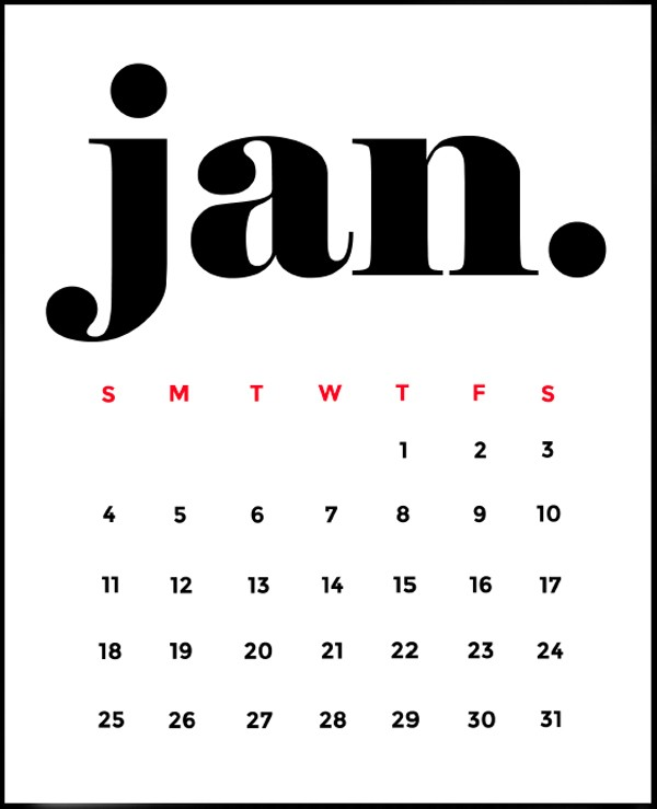 Free Minimalist 2015 Calendar Printable • littlegoldpixel.com