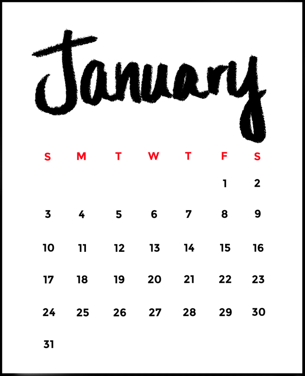 Free Minimalist 2016 Printable Calendar •Little Gold Pixel