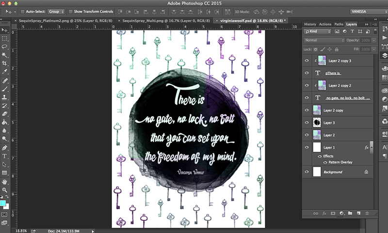 Virginia Woolf Freebie: Photoshop Brush & Pattern Tutorial • Little Gold Pixel / Using Graphic Design Bundle from The Hungry JPEG