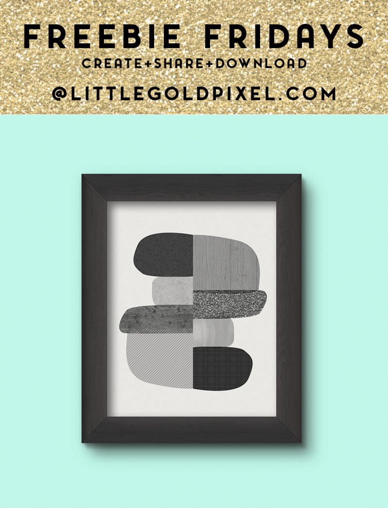 Midcentury Modern B&W Abstract Art Printable / Freebie Fridays • Little Gold Pixel