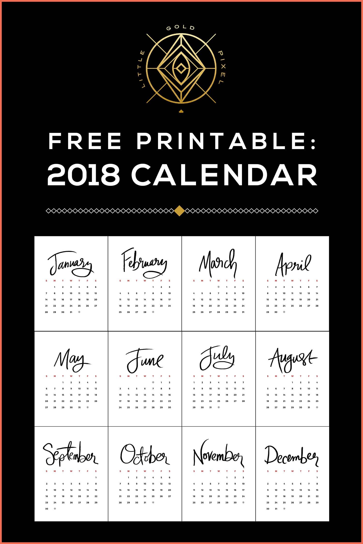 Free Printable 2018 Calendar •Little Gold Pixel