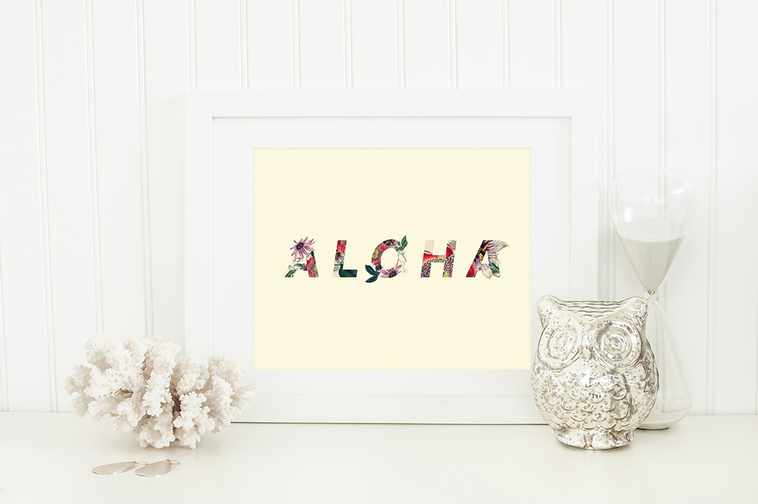 Aloha Hawaii Floral Art Printable (cream & floral) • Little Gold Pixel • shoplittlegoldpixel.com