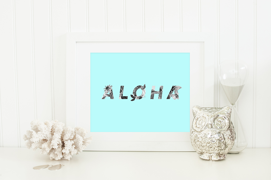 Aloha Hawaii Floral Art Printable (blue) • Little Gold Pixel • shoplittlegoldpixel.com