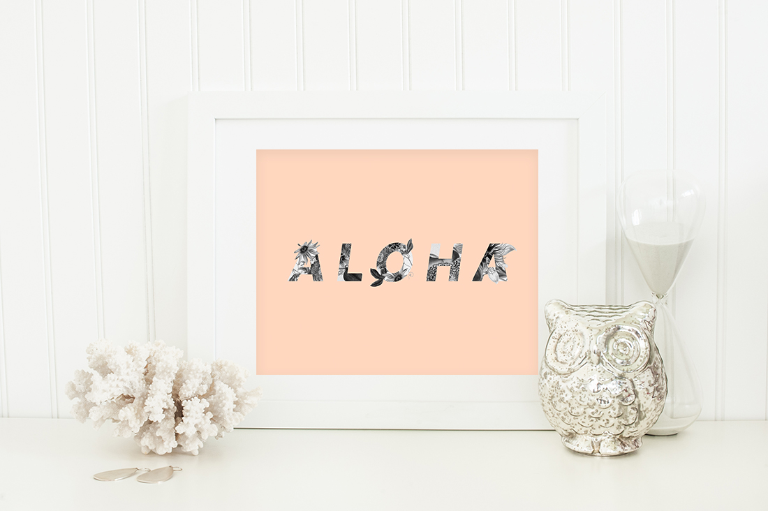 Aloha Hawaii Floral Art Printable (peach) • Little Gold Pixel • shoplittlegoldpixel.com