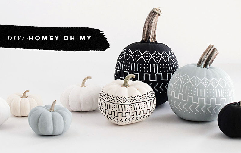 Black & White Pumpkins: Easy, Minimal, No-Carve Ideas • Little Gold Pixel • photo via Homey Oh My