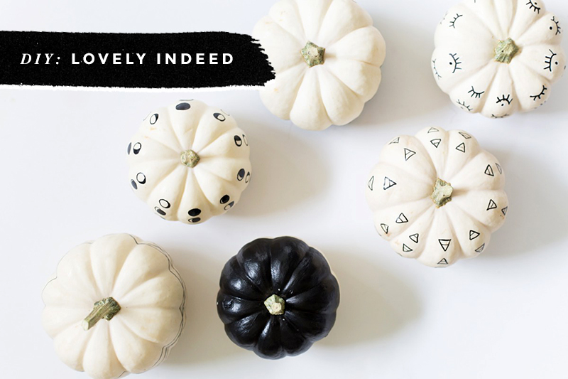 Black & White Pumpkins: Easy, Minimal, No-Carve Ideas • Little Gold Pixel • photo via Lovely Indeed