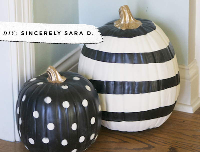Black & White Pumpkins: Easy, Minimal, No-Carve Ideas • Little Gold Pixel • photo via Sincerely Sara D