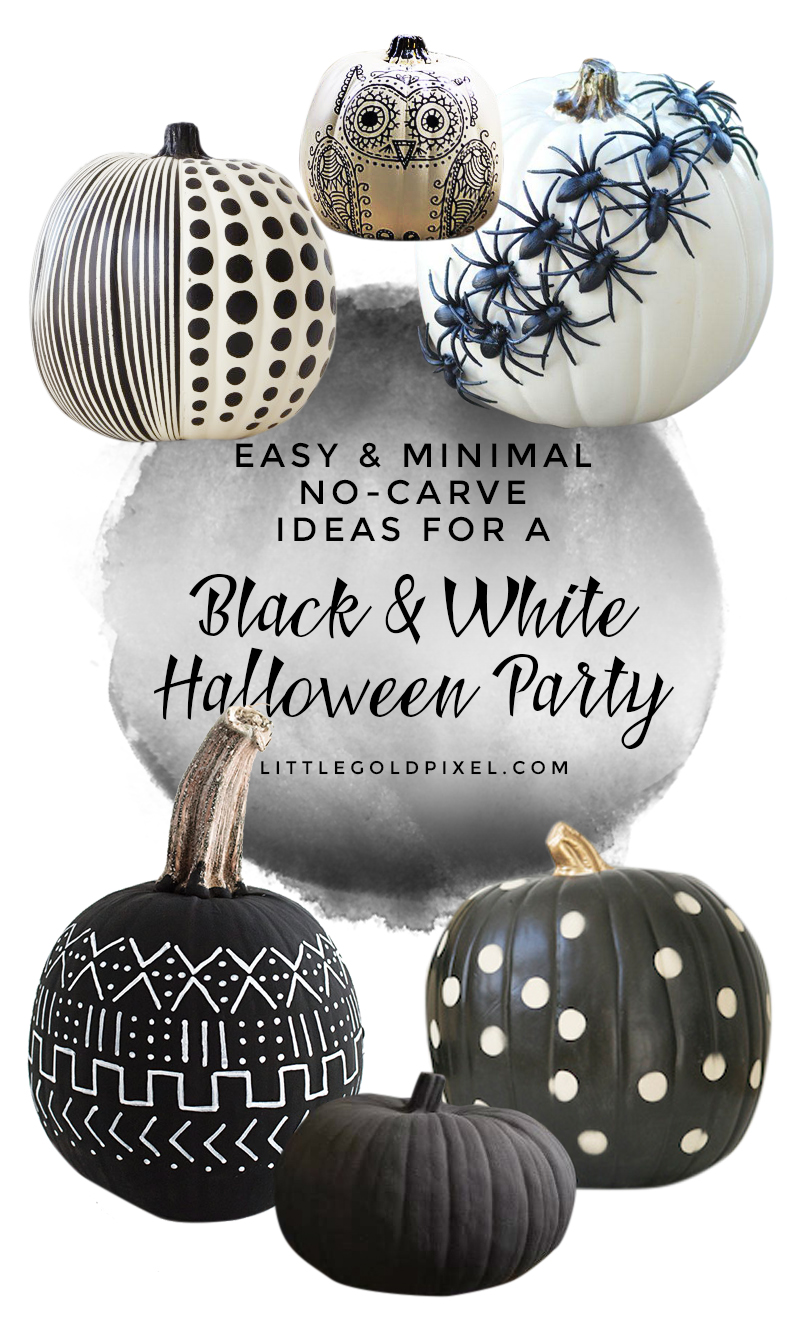 Black & White Pumpkins: Easy, Minimal, No-Carve Ideas • Little Gold Pixel