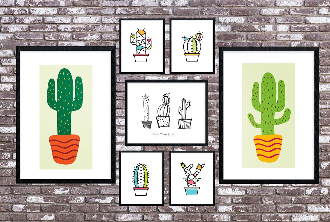 picture regarding Cactus Printable named Cactus Artwork Roundup: 55 Astounding No cost Printables Small Gold