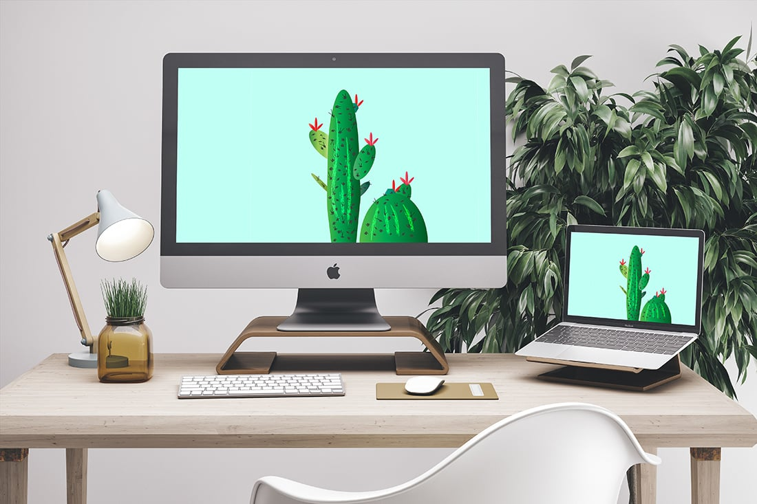 Free Cactus Art to Prettify Your Tech • Wallpaper / Screen Saver • Little Gold Pixel