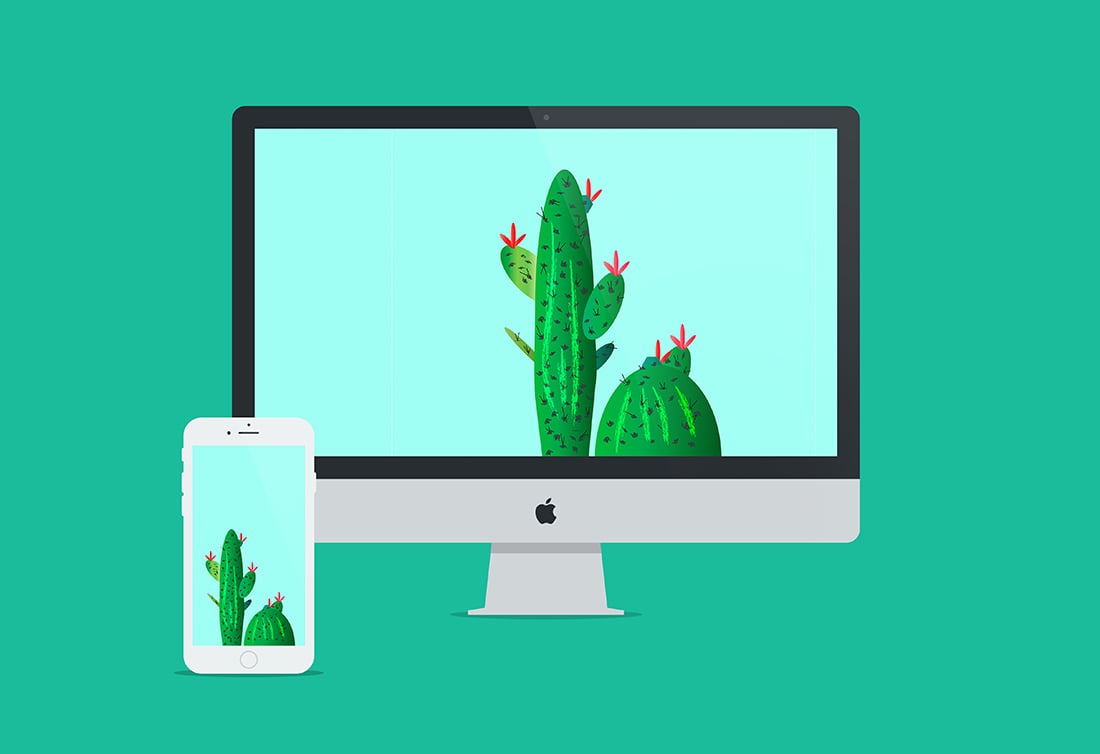 Free Cactus Art to Prettify Your Tech •Wallpaper / Screen Saver • Little Gold Pixel