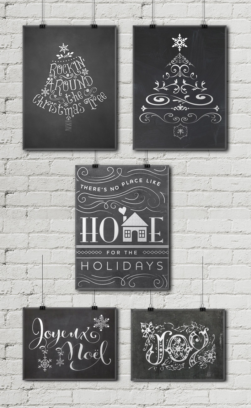 12 free christmas chalkboard printables little gold pixel