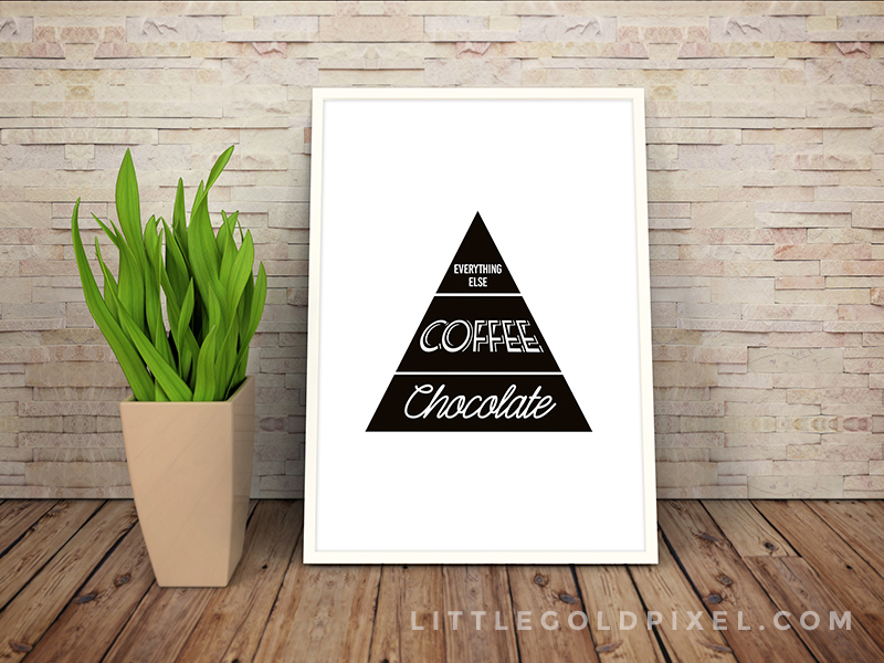 Free Printables Kitchen Wall Art • Chocolate and Coffee Faux Food Pyramid Printable • Little Gold Pixel