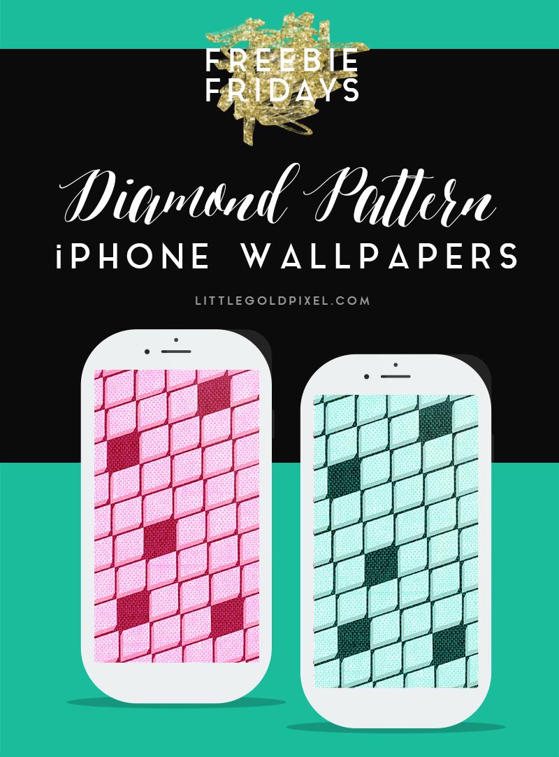 Free Diamond Pattern iPhone Wallpapers •Little Gold Pixel
