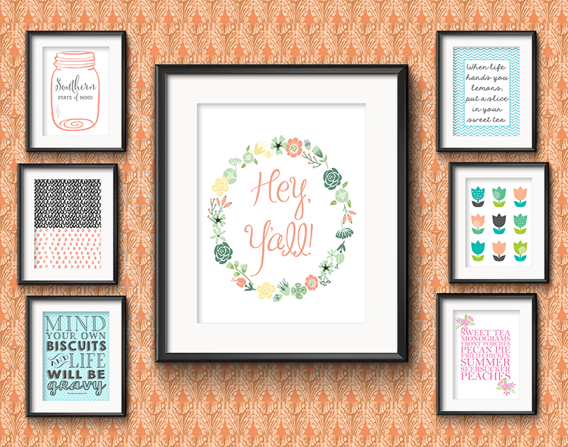Colorful Inspiration for an Entrepreneur Mom •Southern-inspired Dining Room Gallery Wall • Little Gold Pixel