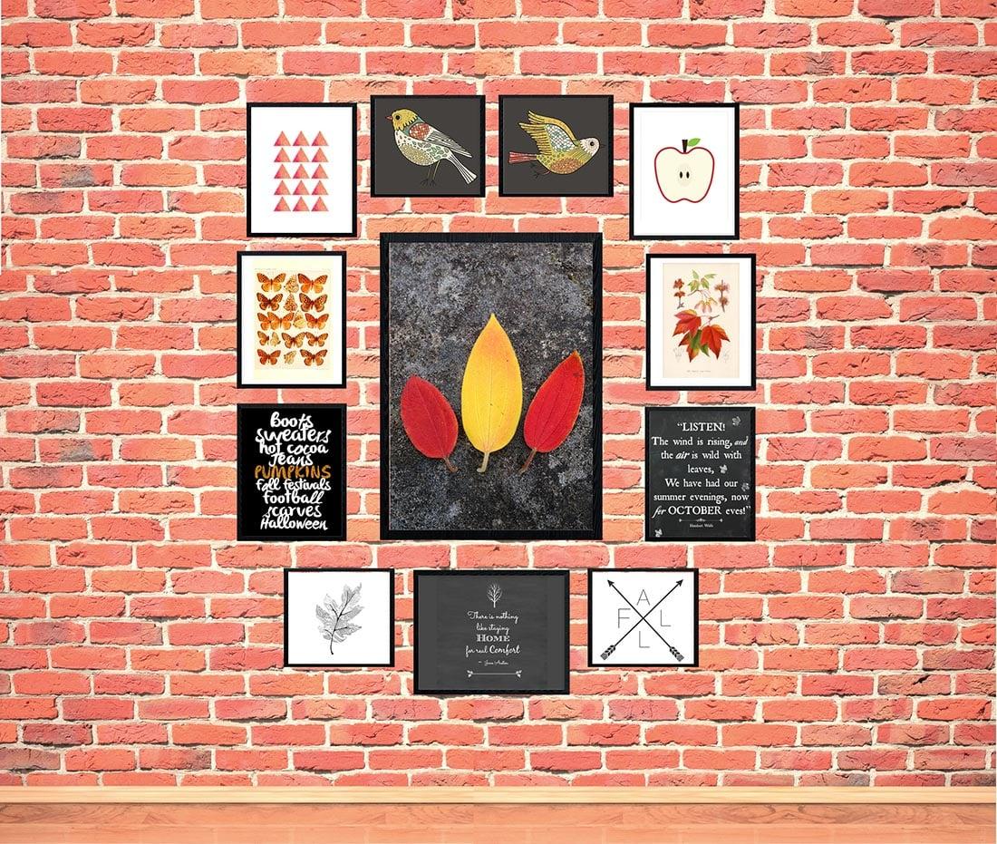 Fall Gallery Wall: 12 Bold & Modern Free Printables •Little Gold Pixel • #fallgallerywall #fallprintables #freeart #freeartprintables #freebies #halloween #autumn #october