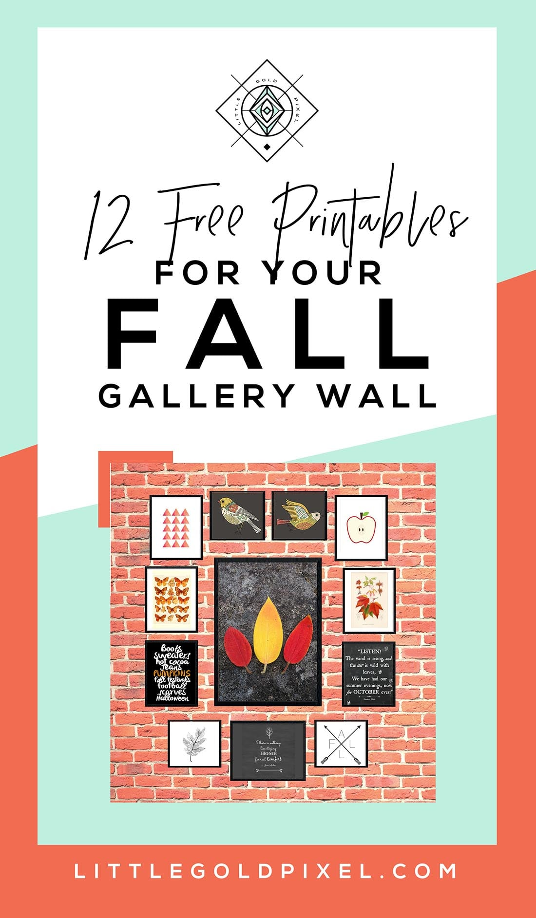 Fall Gallery Wall: 12 Bold & Modern Free Printables • Little Gold Pixel • #fallgallerywall #fallprintables #freeart #freeartprintables #freebies #halloween #autumn #october