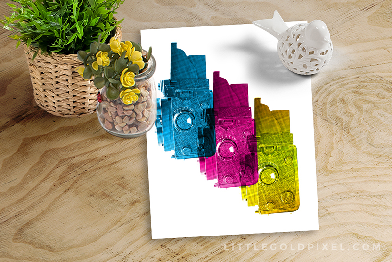 Tri-Color Cameras Free Art Printable • littlegoldpixel.com