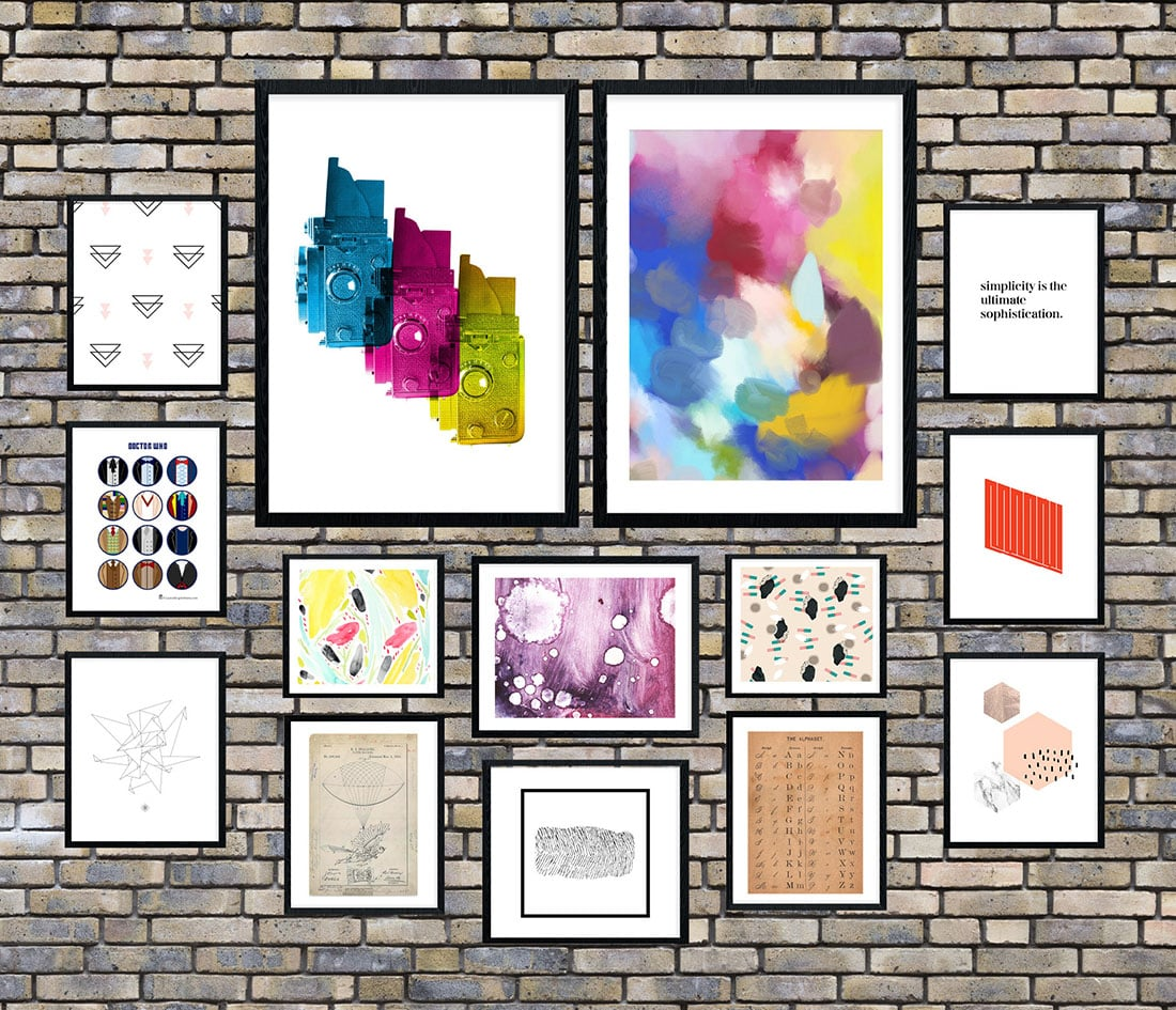 Artsy + Industrial Chic Gallery Wall • Frame Game • Little Gold Pixel