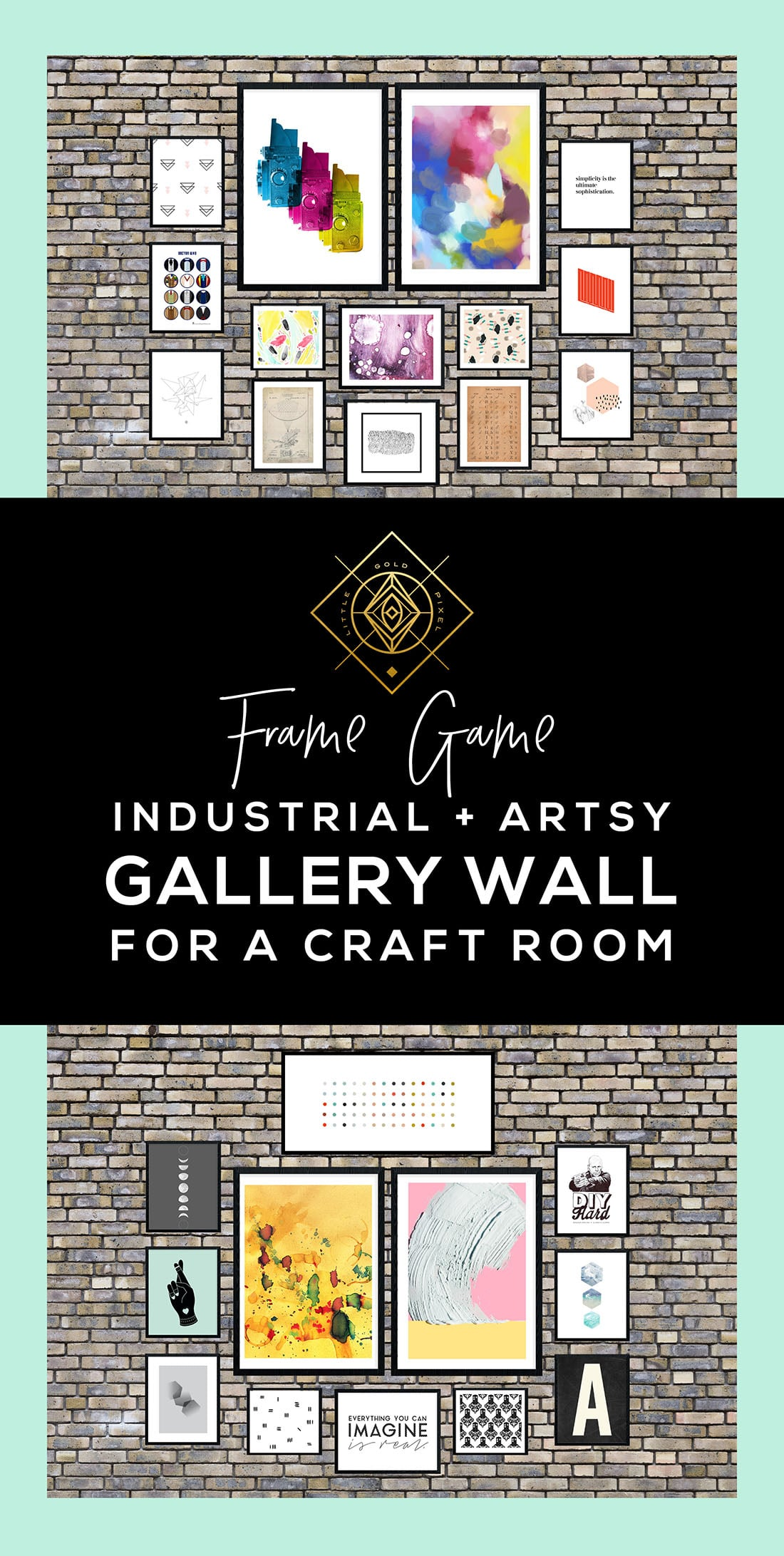 Artsy Industrial Chic Gallery Wall • Frame Game • Little Gold Pixel