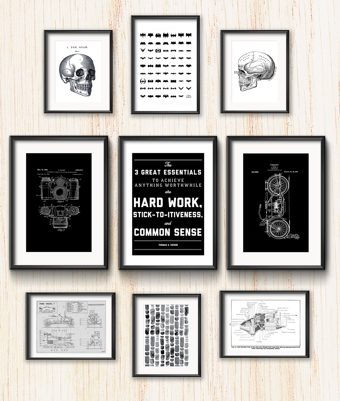 Frame Game: Stark B&W Gallery Wall for Science-Minded Couple • Frame Game is an occasional series in which I take readers' gallery wall requests and find art that fits their personalities • Little Gold Pixel
