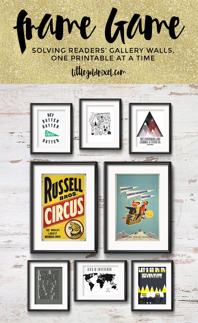 Frame Game: Modern Gallery Wall for a True Adventurer • Little Gold Pixel • In the first Frame Game, I curate a modern gallery wall for a true adventurer, complete with circus, skiing, mountains and camping free art printables.
