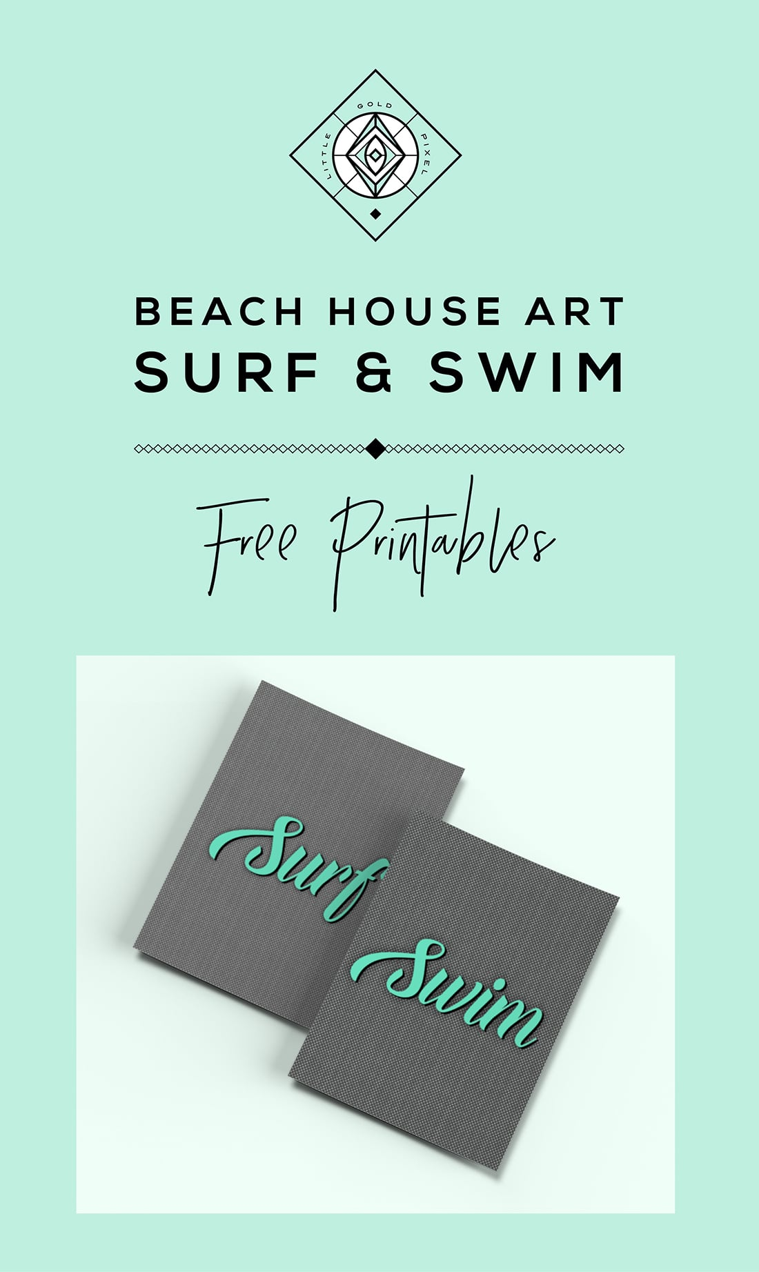 Free Beach House Art Printables • Little Gold Pixel • Surf and Swim