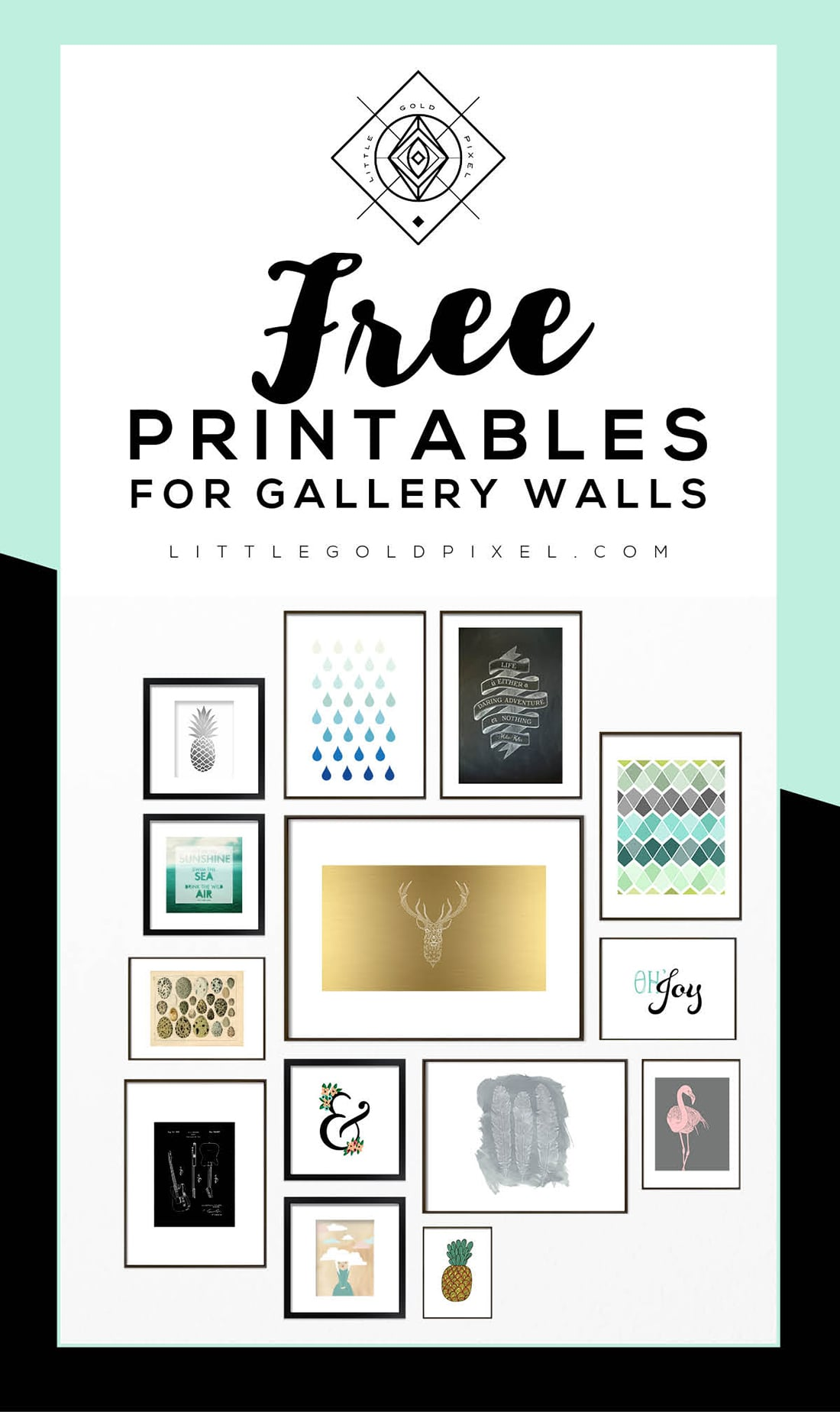 picture about Free Printable Art identify Roundup: Absolutely free Printables for Gallery Partitions Small Gold Pixel