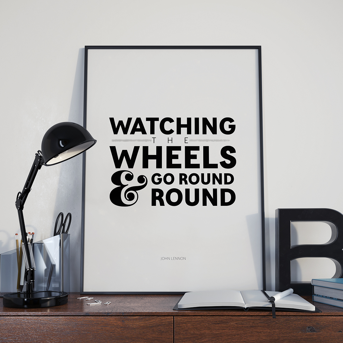 John Lennon Watching the Wheels Art Printable • Little Gold Pixel • shoplittlegoldpixel.com