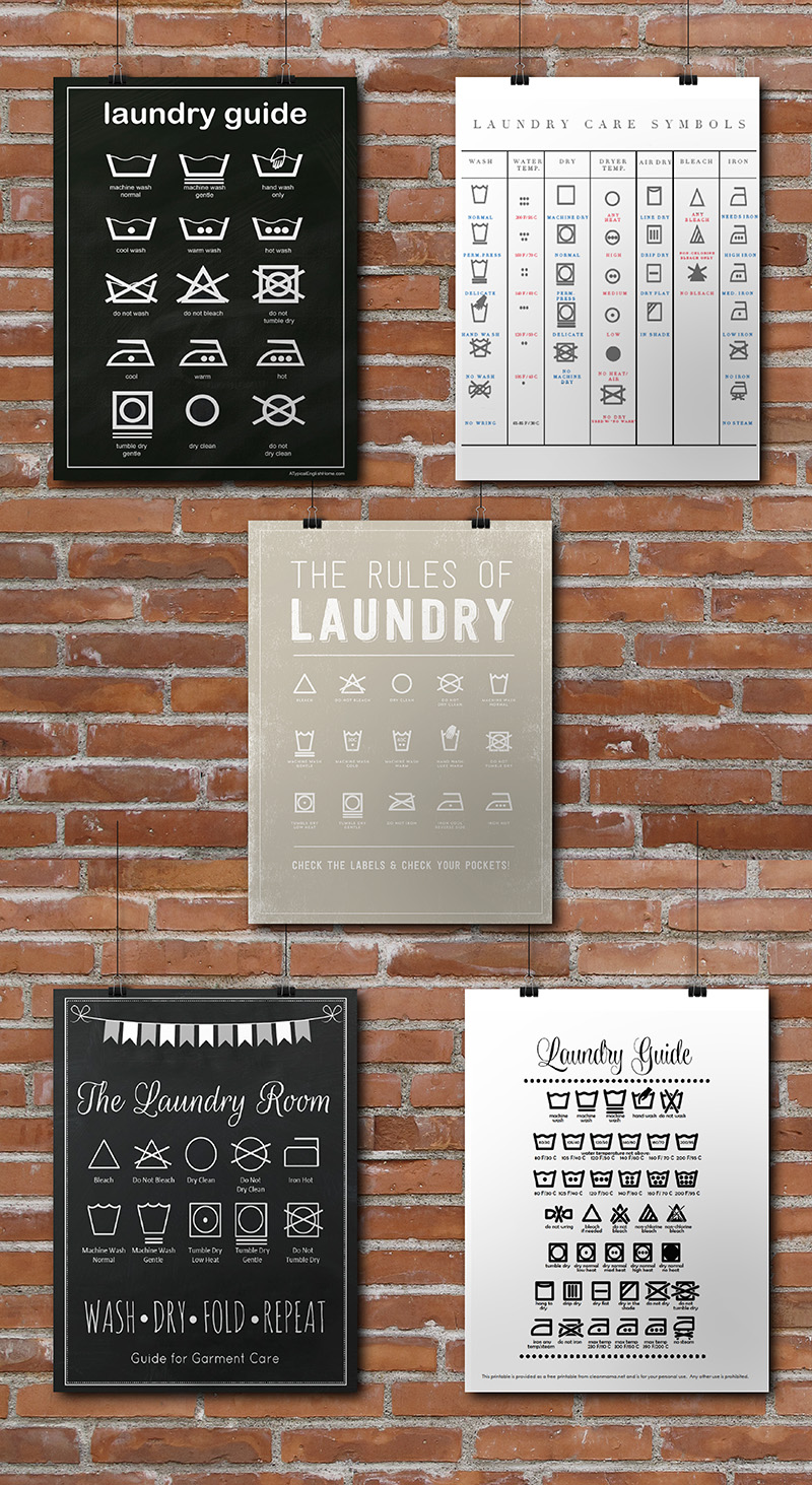 photo relating to Laundry Symbols Printable titled 15 Laundry Space No cost Printables Small Gold Pixel