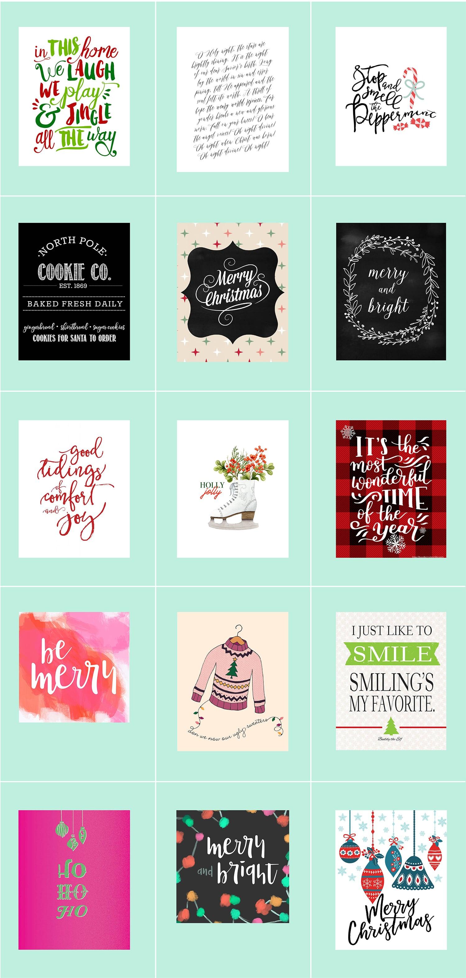 30 Free Christmas Printables • Last-Minute Decor • Little Gold Pixel