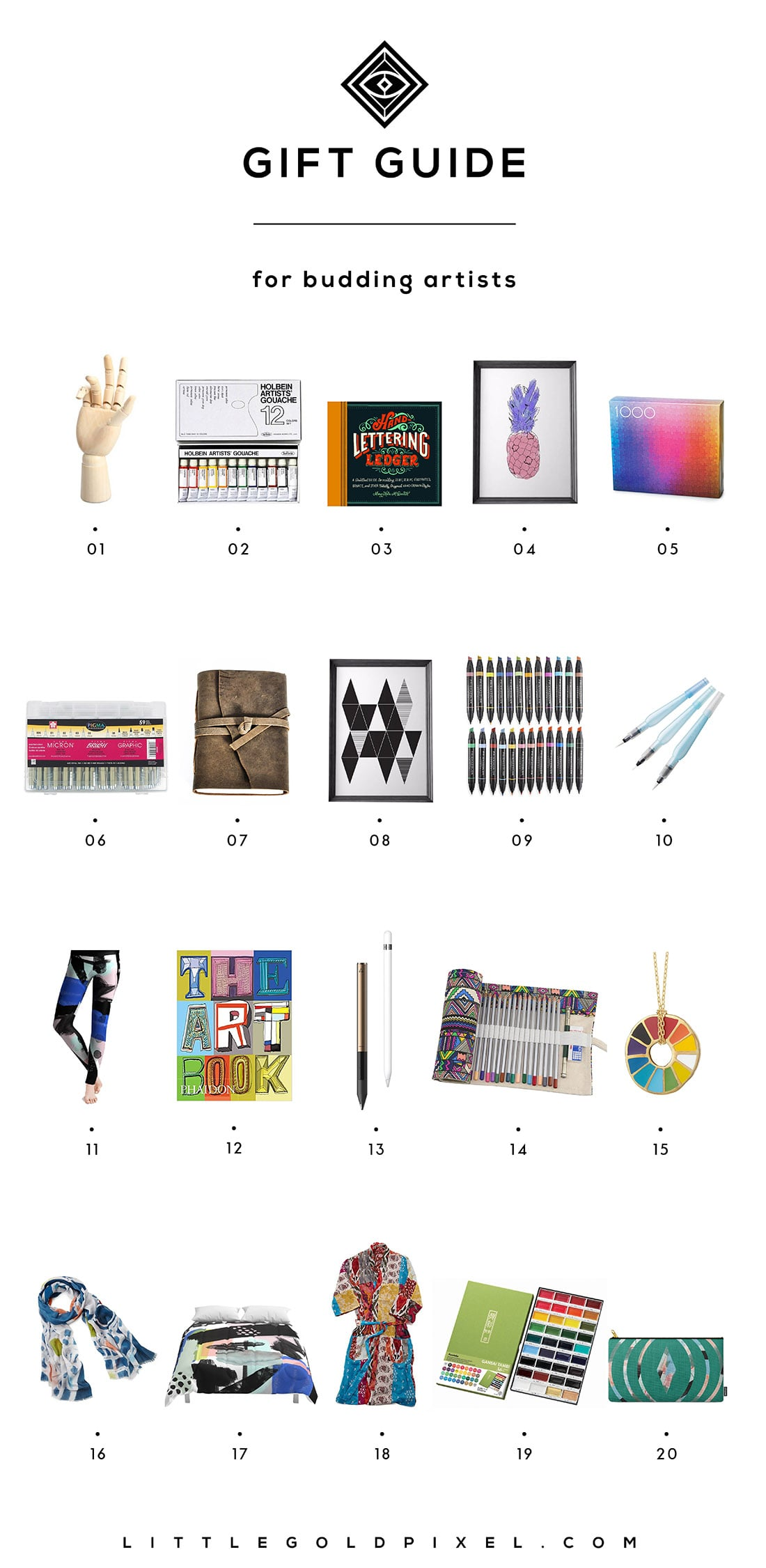 Little Gold Pixel's Artist Gift Guide: Here are 20 gifts perfect for the budding Picassos in your life. Grab one for yourself while you're at it!
