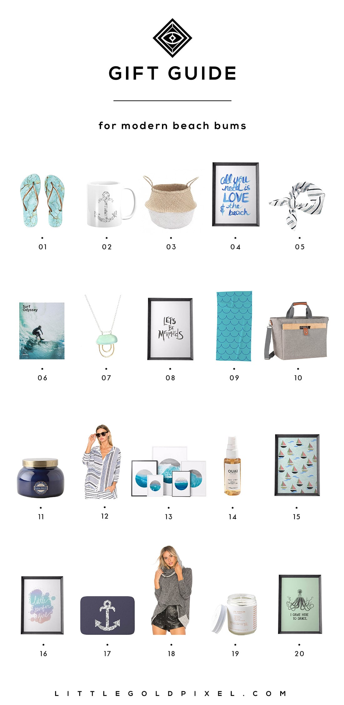 Little Gold Pixel's Beach Gift Ideas: Here are 20 gifts perfect for the modern beach bums in your life. Grab one for yourself while you're at it!