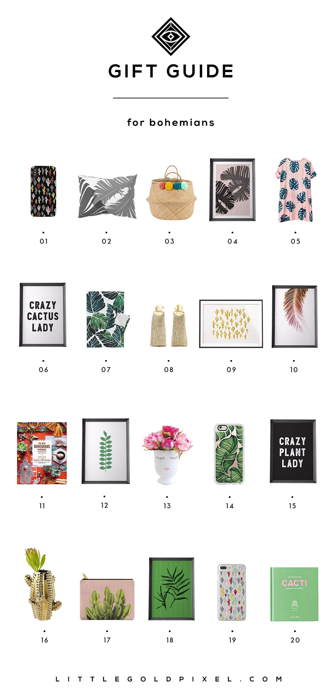 Little Gold Pixel's Bohemian Gift Guide: Here are 20 gifts perfect for the plant-loving free spirits in your life. Grab one for yourself while you're at it!