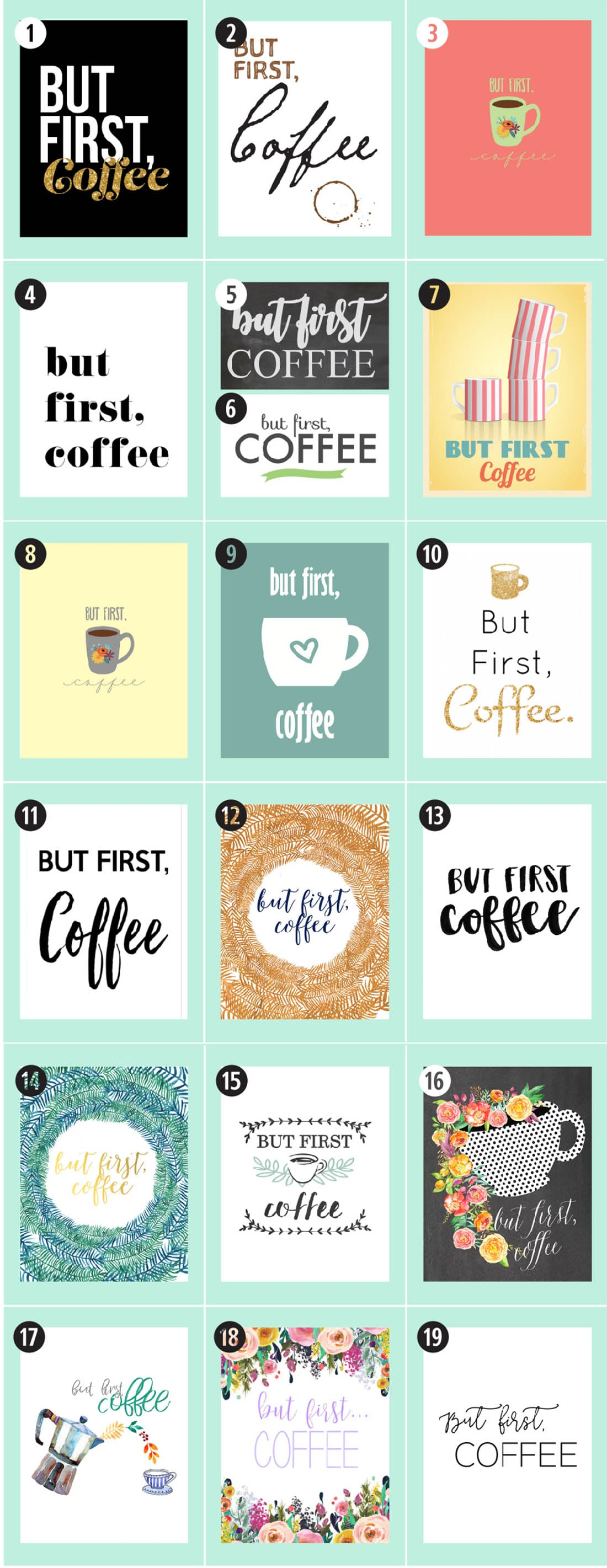 180+ Coffee Free Printables: The Ultimate Guide • Little Gold Pixel •Find the motherlode of curated coffee printables here. Click through to see more!