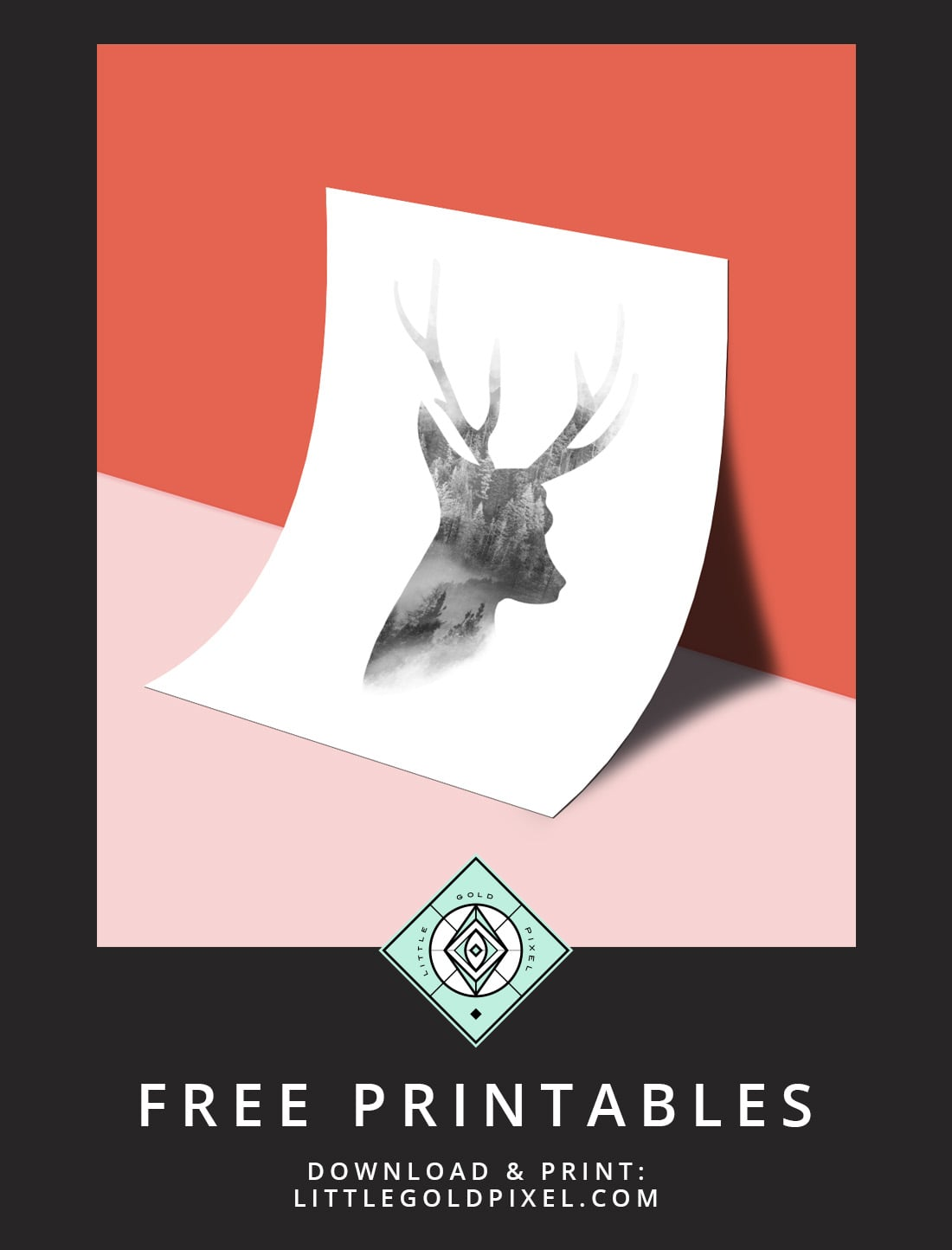 Download this free deer wall art printable as part of my Freebie Friday series. Minimalist & farmhouse. Print & hang today!
