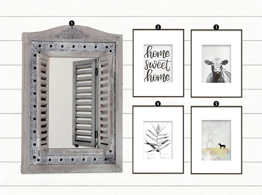 How to Create a Modern Farmhouse Gallery Wall • Little Gold Pixel • You have the Modern Farmhouse decor, but what about the farmhouse gallery wall? Click through for a detailed style guide and gallery wall examples!