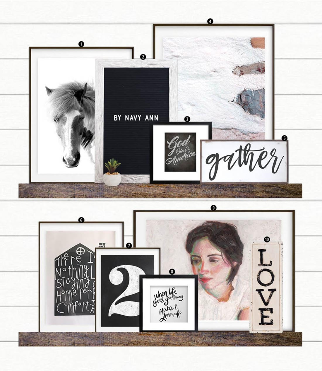 How to Create a Modern Farmhouse Gallery Wall • Little Gold Pixel •You have the Modern Farmhouse decor, but what about the farmhouse gallery wall? Click through for a detailed style guide and gallery wall examples!