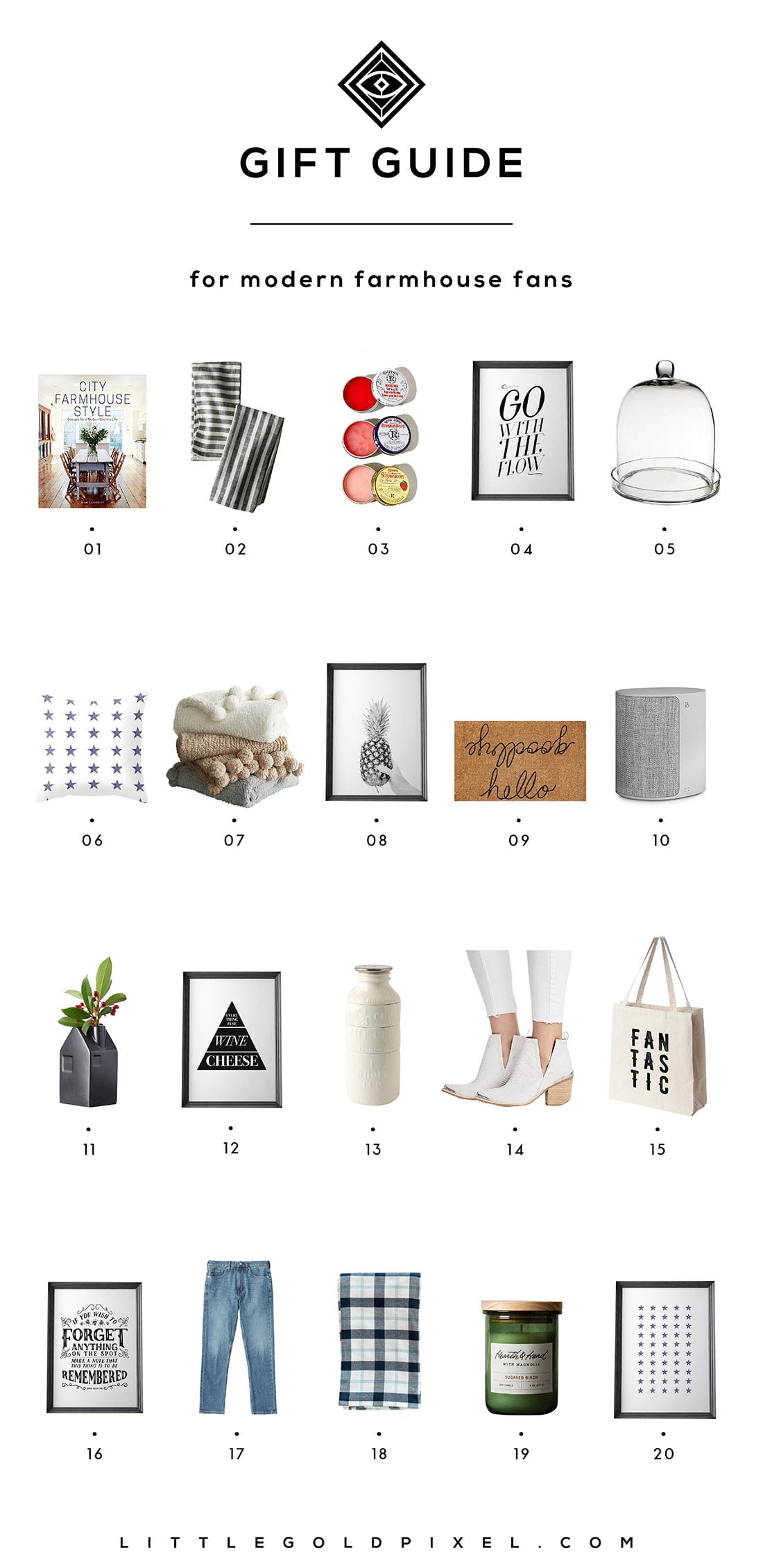 Little Gold Pixel's Modern Farmhouse Gift Guide: Here are 20 gifts perfect for the Fixer Upper fans in your life. Grab one for yourself while you're at it!