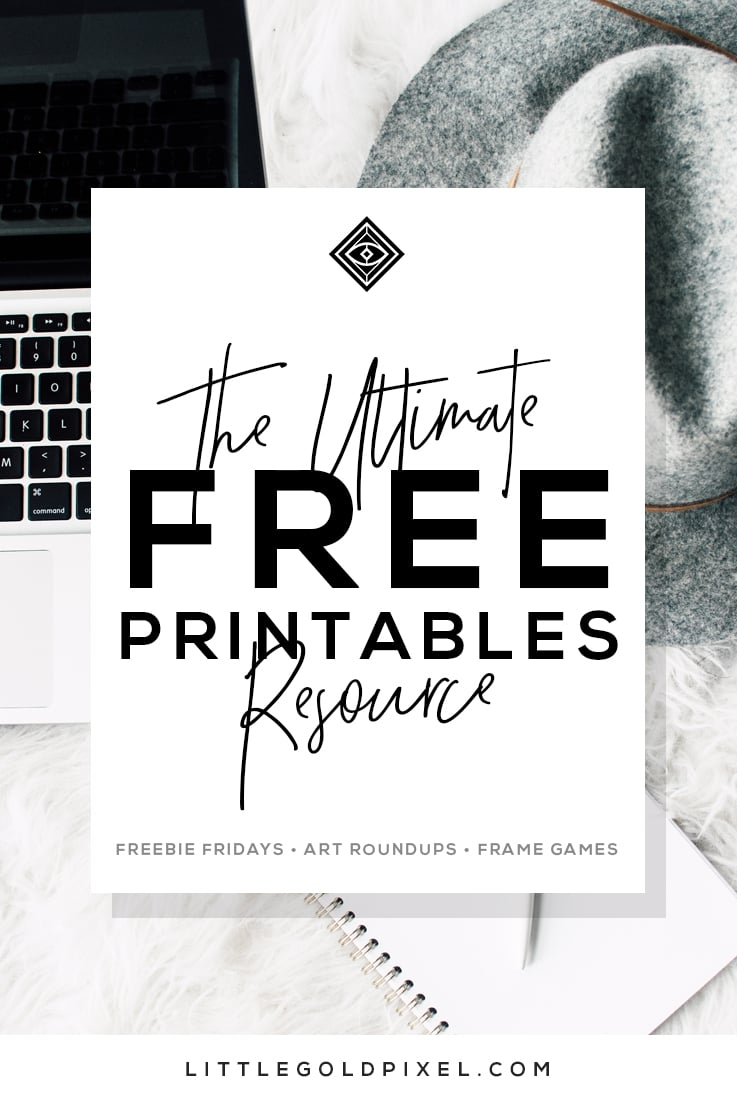 graphic regarding Free Printable Art known as No cost Printables Totally free Wall Artwork Roundups Minimal Gold Pixel