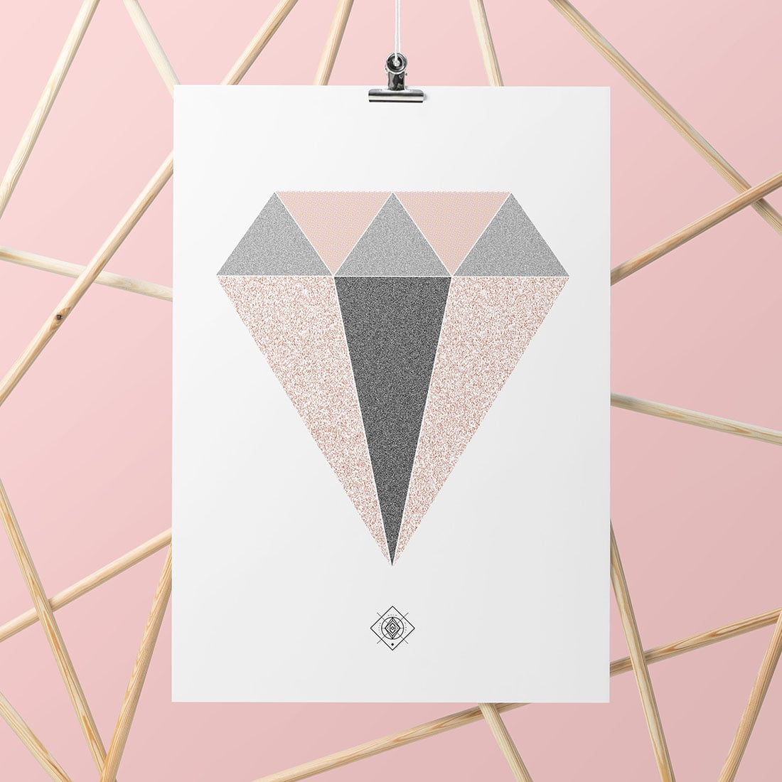 Geometric Diamond Free Printable • Little Gold Pixel • Download this diamond free printable as part of my Freebie Friday series. Instant wall art! Bonus: watch the time-lapse video to see how I made it.