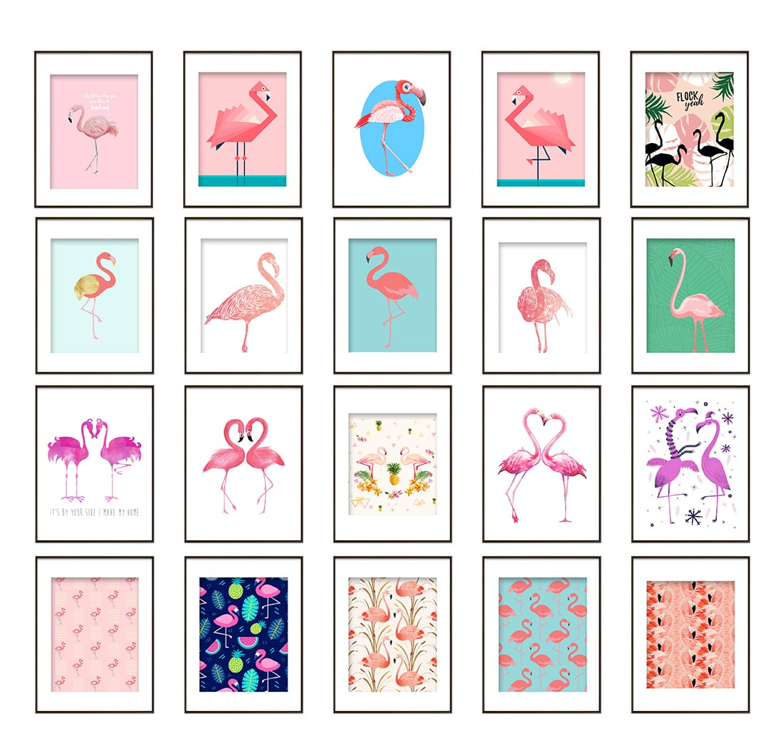 graphic relating to Free Printable Decor titled Absolutely free Flamingo Printables for Your Summer season Decor Tiny Gold