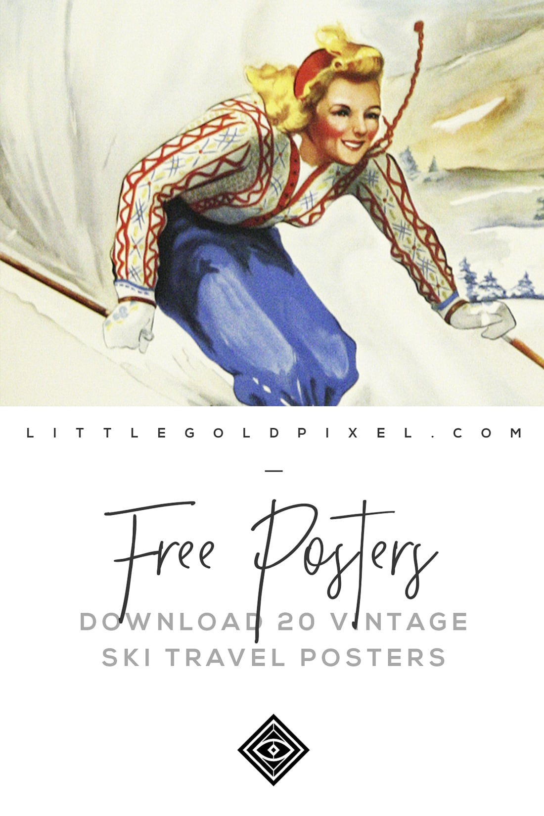Free Vintage Ski Posters • Little Gold Pixel