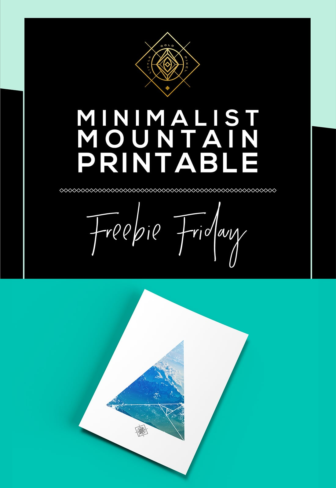 Minimalist Mountain Printable • Freebie Fridays • Little Gold Pixel