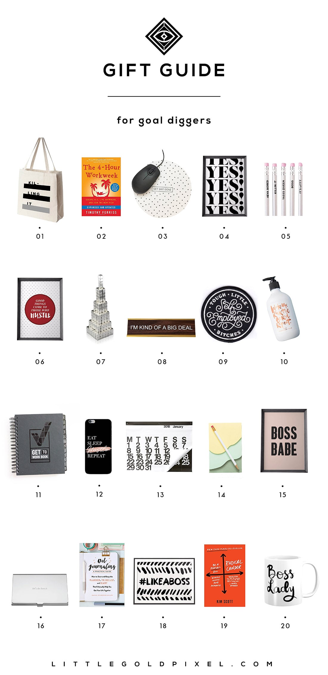 Little Gold Pixel's Girl Boss Gift Guide: Here are 20 gifts perfect for your favorite bad-ass goal diggers. Grab one for yourself while you're at it!