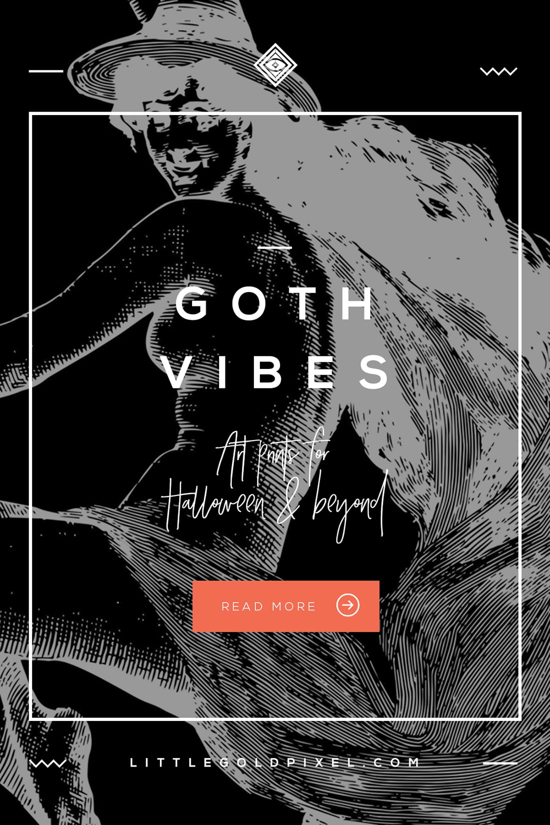 goth art prints • witchy vibes for halloween & beyond • little gold