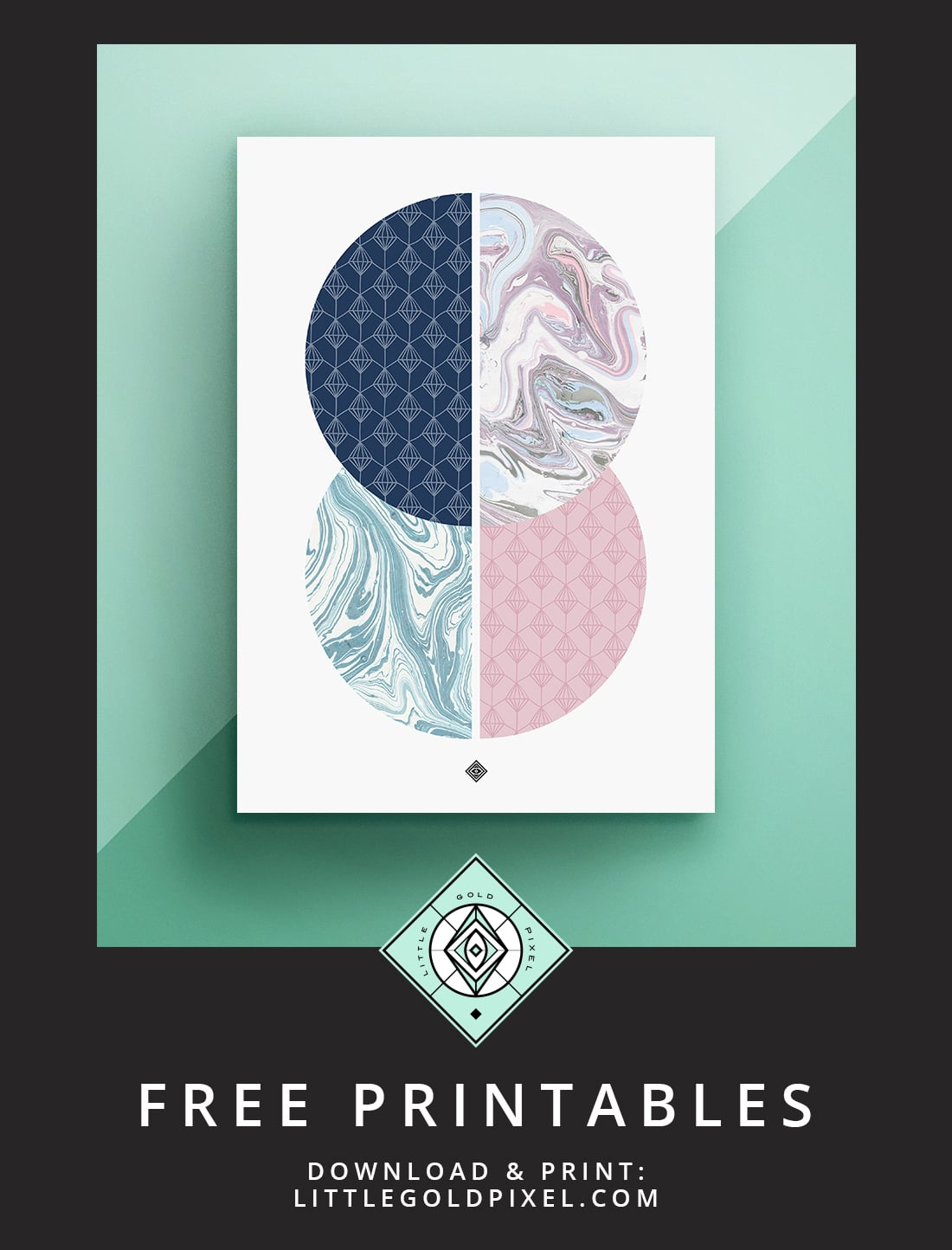 Download this marble circles free printable as part of my Freebie Friday series. Mid mod & glam. Print & hang today!