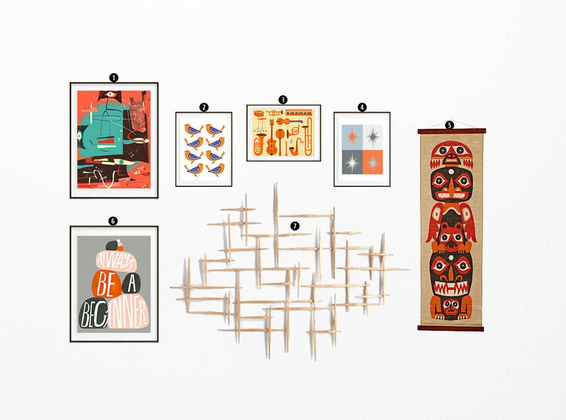 How To Create A Mid Century Modern Gallery Wall Little