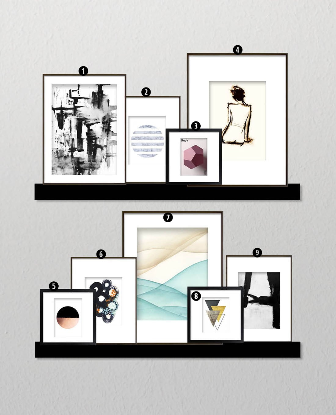 How to create a minimalist gallery wall little gold pixel for Minimal art gallery